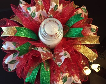 """17"""" Christmas Deco Mesh Poinsettia Centerpiece/Candle Holder - Red"""