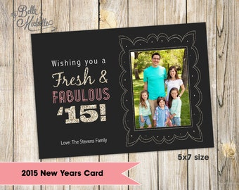 Personalized Photo 2015 New Years Card - You Print Digital File
