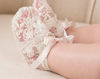 Jessica Lace Booties, Baby Girl Booties, Girls Lace Booties