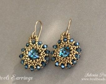 Beaded Rivoli Earrings Tutorial - Blue Crystal Earrings - PDF Beading Pattern - Digital Download