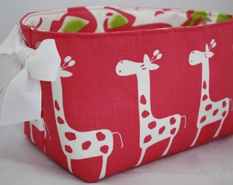 Fabric Bin, storage bin,  Hot Pink and White Giraffes with clear grommets for handles 10 x 5.5 x 6