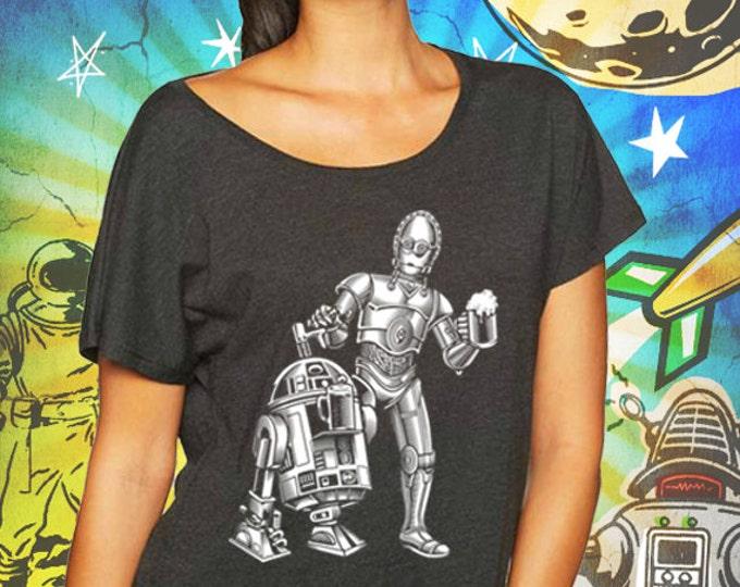 Star Wars R2 / 3PO Women's Vintage Black Dolman T-Shirt Dune Sea Cold Ones Star Wars Beer Dolman T-Shirt