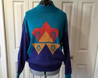 Vintage Gitano 80s Ugly Sweater Geometric Southwest Teal Purple Sz L