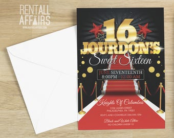 Sweet Sixteen Red Carpet Birthday Invitation