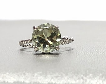 Green Amethyst Sterling Silver Stackable Rope Ring