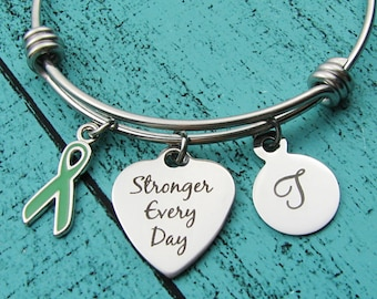 mental health awareness bracelet, green ribbon awareness, strength stronger every day, encouragement gift, recovery, depression anxiety