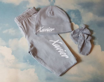 Baby Boy, CHOOSE SIZE, Newborn Take Home Outfit, Pants, Monogram Beanie Hat, Mittens, Hospital Photo, Little Brother