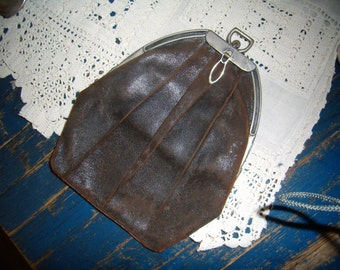 Antique Leather Arts and Crafts Clutch Purse