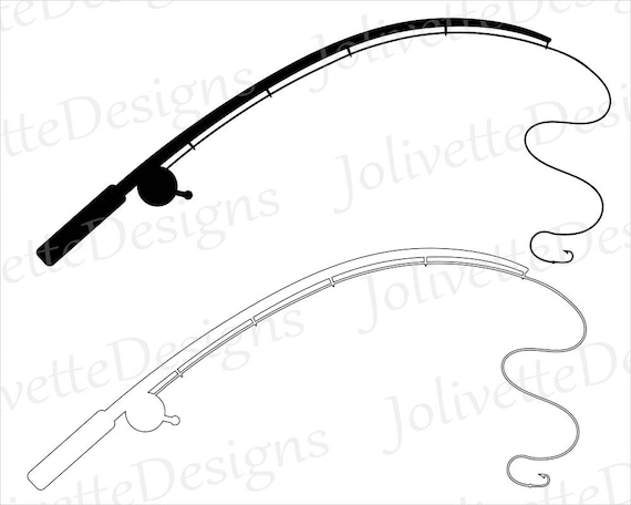 fishing pole fishing rod reel hook fish clip art rh etsy com fishing rod and hook clipart fly fishing rod clipart
