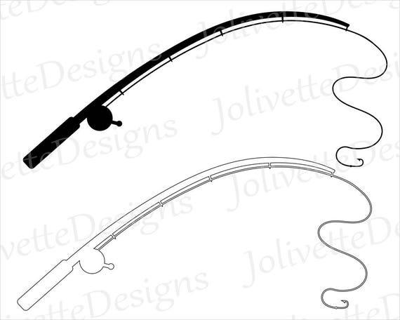 fishing pole fishing rod reel hook fish clip art rh etsy com fishing pole clipart