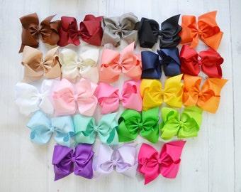 "Large 5"" bow grab bag of 5, clip or baby headband, baby hair bow"