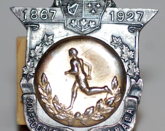 1927 era Sterling Silver 60th Anniversary Confederation Sports Medal - Free US Shipping!