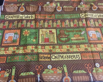 """1/3 yard of 44"""" Wide I love to Quilt Crafter Pins Needles Fat Quarters Brown Green Cotton Fabric Sewing Machine Seamstress Quilting ST"""