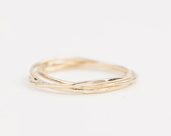 14k gold trinity ring, dainty rings, three rings, textured ring, hammered ring, stacking rings, rose gold, white gold, platinum