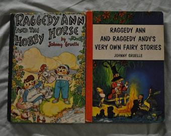 2 Raggedy Ann Books - Hard Bound - by Johnny Gruelle