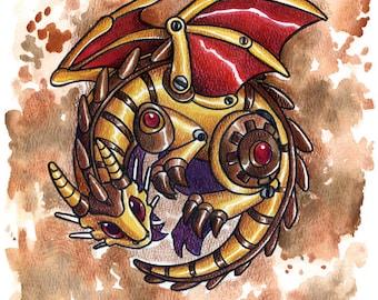 Steam Dragon | Dragon Art Print | Fantasy Art Print | Cute Dragon | Steampunk Art | 8x10
