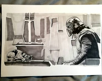 Adam Driver as Kylo Ren with Darth Vader's helmet from Star Wars: The Force Awakens Ink Drawing