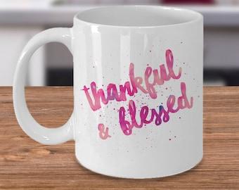 Thanksgiving Day Coffee Mug Gift - Thankful & Blessed - Perfect Thanksgiving Gift Holiday Gift - Black and White Mug