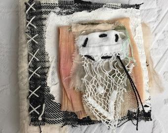 Painted Tweed Book - Tweed Cheesecloth Book - Wee Fabric Book - Shabby Cloth Book - Cloth Covered Book - Artists Book - Handmade Fabric Book