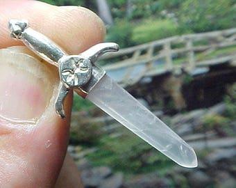Rose Quartz Sterling Swords of Stone Pendant 303