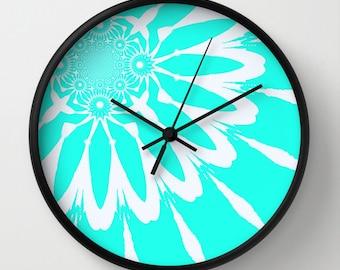Clock, The Modern Flower Turquoise & White Clock, Wall Clock, Flower Clock, Bright Clock, Aqua Clock, Home Decor, Kitchen Clock, Turquoise