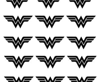 30 Wonder Woman Stickers, Super Hero Stickers, Girl Birthday Party Decoration, Hero Logo Stickers, Superhero Party, Wonder Woman Party Decor