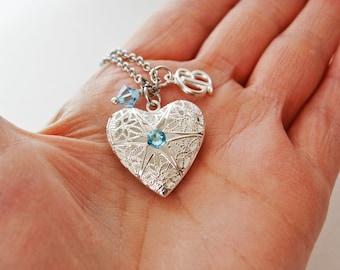 Aquamarine Locket Necklace, Silver Perfume Locket, Initial Necklace, Silver Filigree Locket Necklace, Heart Locket, Silver Heart Locket