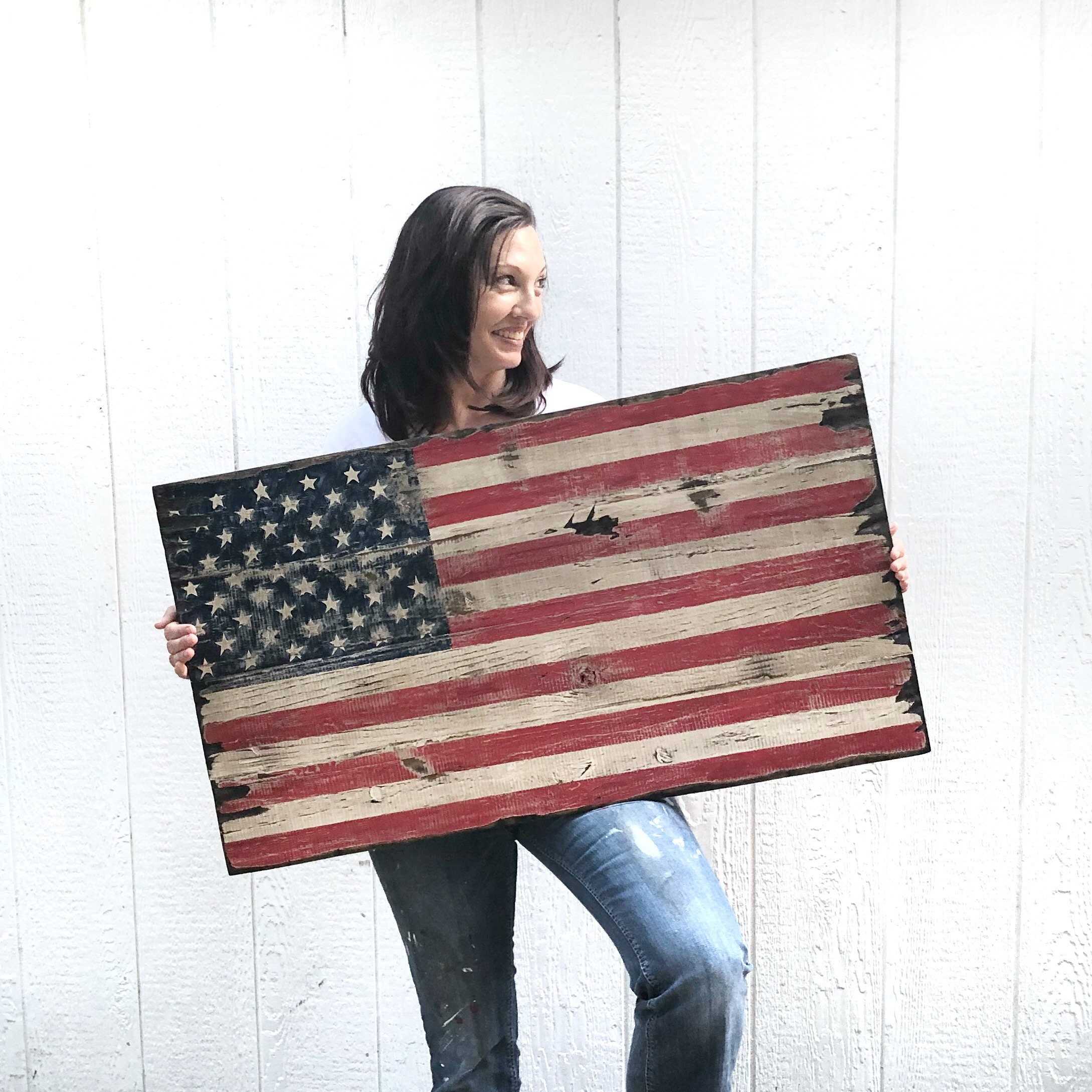 American Flag Made To Look Very Vintage Old Rustic Pallet
