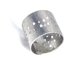 Sterling Silver Drilled and Riveted Finger Cuff - Fervor