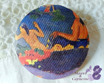 Button fabric, painting by Gauguin, 32 mm / 1.25 in