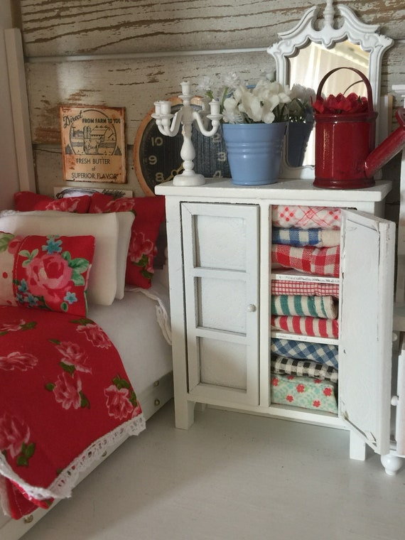 Miniature Distressed White Quilt Hutch and Accessories -1:12 dollhouse scale