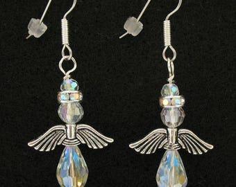 Angel Crystal Earrings, Christmas Angel, Aurora Borealis Swarovski Glass Beads, French Hooks, Surgical Steel Silver Wire Earrings