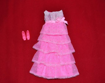 On hold for Johnny- Minty Mod 1970  Vintage Barbie Romantic Ruffles dress in pink with Japan Squishy shoes