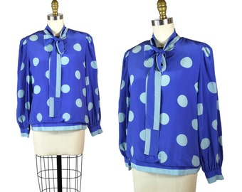 Vintage Polka Dot Blouse / Large 1980s Pussybow Blouse / Silk Polka Dot Button Up Shirt / 80s Ascot Long Sleeve Bow Blouse in Blue