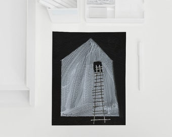 Abstract House Illustration Print House #1 Black and White Contemporary Art Print of Original Sketch from House Series