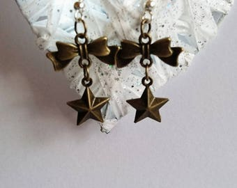 Star and bow connector charm earring