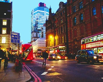 London photography, street photography, Liverpool Street, fine art photography, Red buses, busy evening, sunset