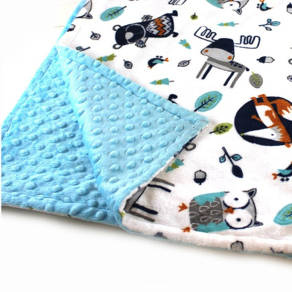 Woodland Baby Lovey, Mini Personalized Baby Blanket, Boy Lovey Woodland Minky Baby Blanket, Fox Lovey, Baby shower gift, Newborn Baby Lovey