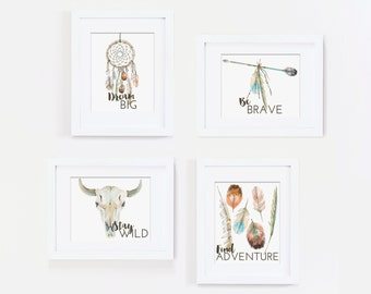Dream Big Wall Art, Tribal Nursery Art Print, Dreamcatcher Art, Feather Art - Be Brave Quote, Stay Wild, Find Adventure - Kids Bedroom Art