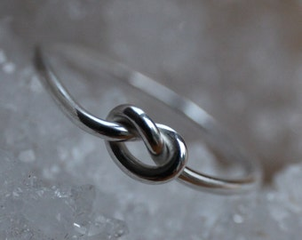 Silver love knot ring, handmade