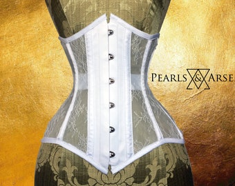 Pearls & Arsenic : Bridal White Lace Mesh Underbust