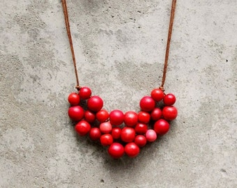 Wooden bib necklace, minimal bib necklace, red bib necklace, contemporary, woven beads.
