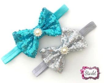 Blue Sequin Bow Headband, Silver Headband, Girl's Hair Accessories, Holiday Headbands, Baby Headband, Photo Prop, Baby Shower Gift