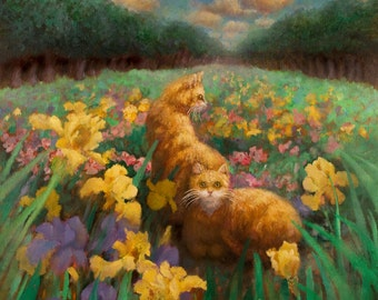 Two Cats in Field of Iris
