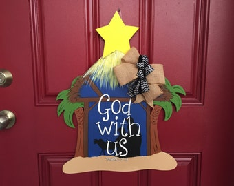 Nativity door hanger, Christmas door hanger, manger scene door hanger, biblical door hanger, holiday door hanger, Christmas wreath
