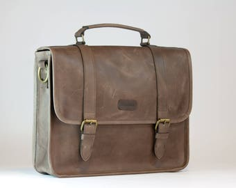 OPENING SALE 50%OFF Leather briefcase Brown/ Use Coupon (Mulus)