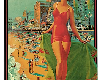 Hand-cut wooden jigsaw puzzle. WOMAN in RED SWIMSUIT. Edward Eggleston. Vintage advertisement Wood, collectible. Bella Puzzles.
