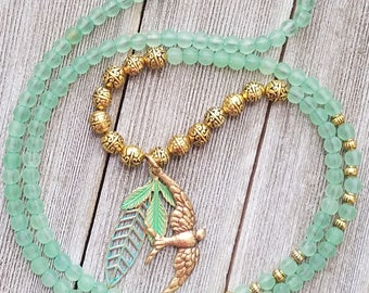 Boho green bird beaded necklace