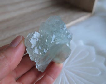 104g Gemmy Seafoam Green Fluorite With Quartz Drusy Formation From China - ITEM #180 - 6.5 x 5 x 4cm