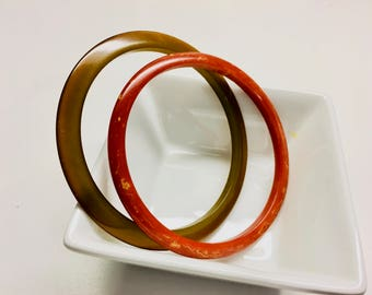 """Vintage Bakelite Bangles, Cocoa Brown Saucer and Marbleized Apple Red Pair - 2 1/2"""" Inside"""